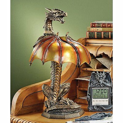 Dragon Wing Statue Small Accent Lamp Medieval Gothic Halloween Decor Sculpture