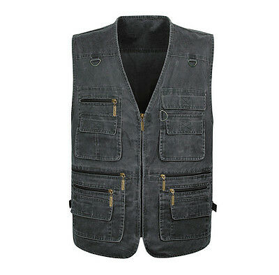 Men Clothing Denim Vest Fishing Photography Safari Outdoors Sports Vest