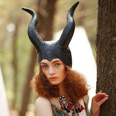 Women Maleficent Evil Horn Cap Halloween Party Props Witch Cosplay Headpiece Hat
