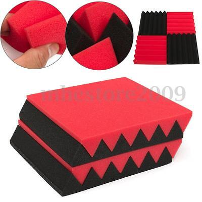 """12 Pack 12""""x12""""x2"""" Studio Acoustic Foam Soundproofing Wall Panel RED/BLACK Wedge"""