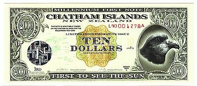 Chatham Islands New Zealand Polymer $10 Note Series 1999 A Limited Commemorative