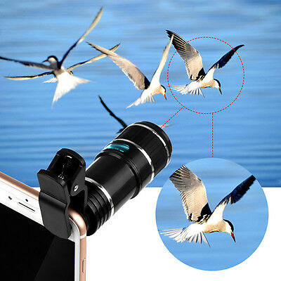 New 12X Telescope Zoom Phone Camera Lens Optical Clip for iPhone 7 Android