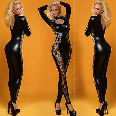 WETLOOK CATSUIT OVERALL ANZUG GOGO DESSOUS CLUBWEAR  Gr. S-M 36-38