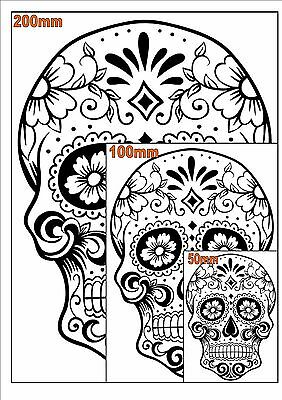 Sugar Skull #15 monocrome Sticker Decal DAY OF THE DEAD ipad computer All sizes