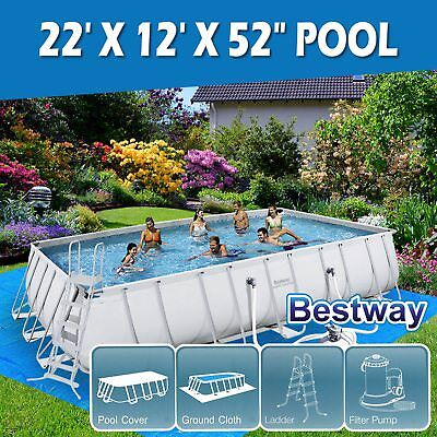 Bestway Above Ground Swimming Pool Rectangular Steel Pro Frame Sand Filter Pump