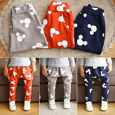 Cute Mickey Kids Boy Girl Clothes Harem Pants Elastic Bottom Sweatpants Trousers