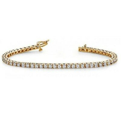 Christmas Special..!! 5.00 CT Round Diamond Claw Set Tennis Bracelet ,YellowGold