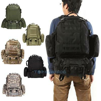 55L Outdoor Army Military Tactical Molle Backpack Rucksacks Camping Hiking Bag