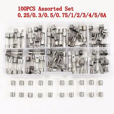 Pack of 100 Pcs Set 5x20mm Quick Blow Glass Tube Fuse Kits Fast-blow Glass Fuses