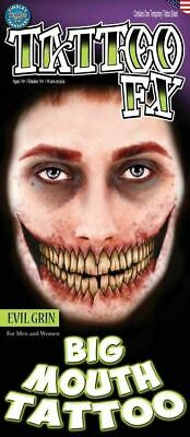 Tinsley Transfers Big Mouth Tattoos Evil Grin Halloween Horror Make Up Scary