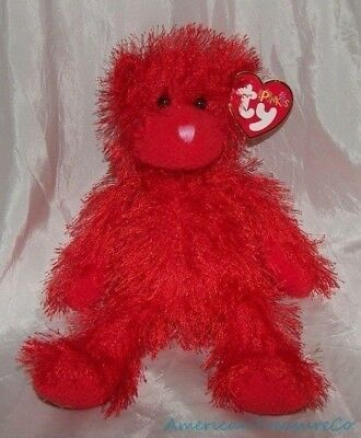 "NEW 2002 TY Beanie PUNKIES Plush Shaggy Scarlet Red 9"" Wild SIZZLES The BEAR"