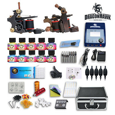 Professional Complete Tattoo Kit 2 LUO'S Top Machine Gun 10 Color Ink