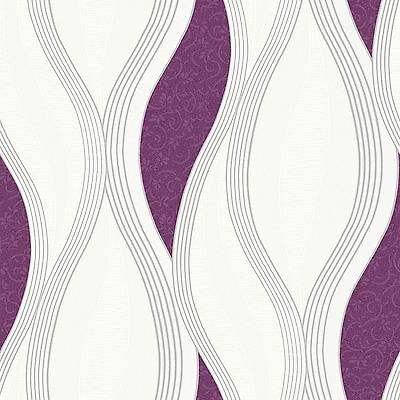 Wave Embossed Textured Wallpaper Rolls - Purple - E62006 Ugepa New
