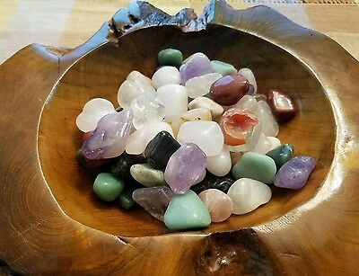 12-16 large colorful Mixed Natural Assorted bulk tumbled Gem stone mix 1/2lb