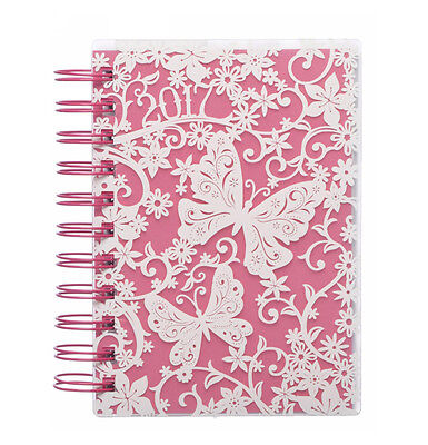 WHSmith 2017 A6 White Butterfly & Floral Diary Day To Page Side Wiro Bound