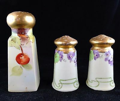 Three Antique Hand Painted Salt Shakers Artist Signed - Cherries & Violets