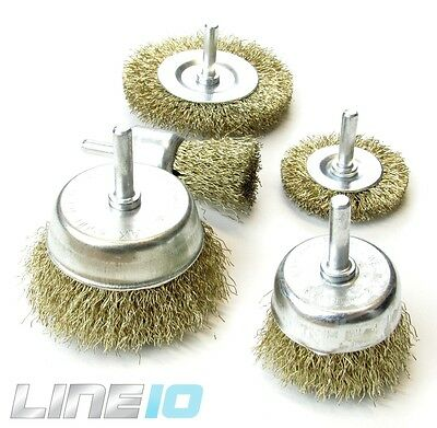 Brass Wire Brush Wheel Cup Drill Attachments Deburring Rust Removal (5 pack)