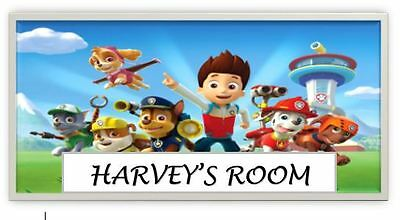 Paw Patrol Personalised Name Plaque/Door/Wall Sign Childrens Laminated
