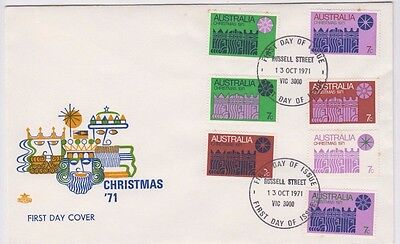 Stamps Australia 1971 Christmas set of 7 on Royal large cachet FDC, scarce