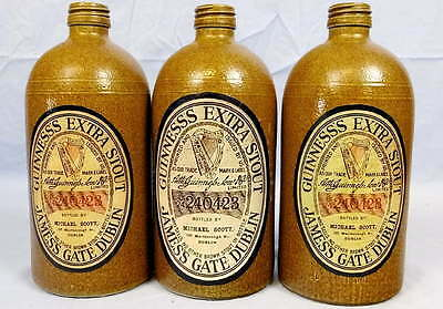 Lot 3 Guinness Extra Stout Beer 0.7L M.K.M. Stoneware Bottles Decanters