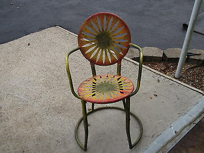 Antique Vintage Hand Made Sunflower Metal Art Chair Garden Style Seat-- Rare!