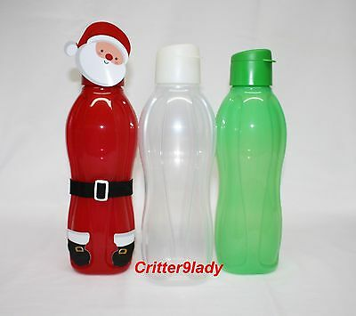 NEW Tupperware Lot of 3 Eco Water Bottles Flip top Christmas Colors 36-oz/1L