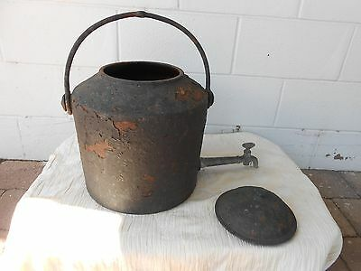 Cast Iron Water Boiler Fire Pot With Long Brass Tap And Handle./urn