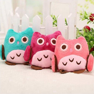 New High Quality Owl Plush Fabric Rattle Hand Bell 8CM Toy Pendant Random Color