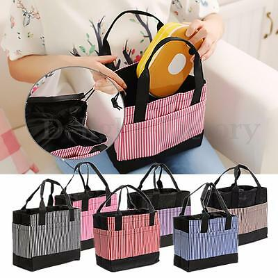 Waterproof Insulated Cooler Stripes Canvas Picnic Lunch Bag Carry Tote Handbag