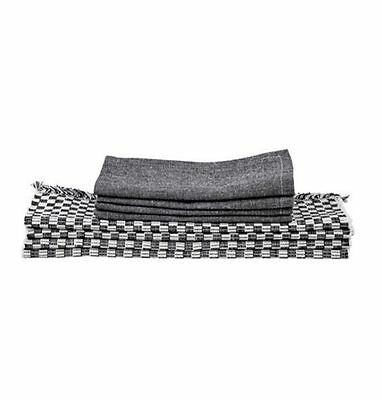j. Elliot HOME Black Gingham Checked Napery SET Placemats Napkins COTTON