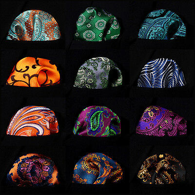 Paisley Floral Men Silk Pocket Square Hanky Wedding Party Handkerchief #B8