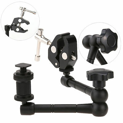 "11"" Articulating Magic Arm+Universal Clamp Camera Flash Hotshoe for DSLR Camera"