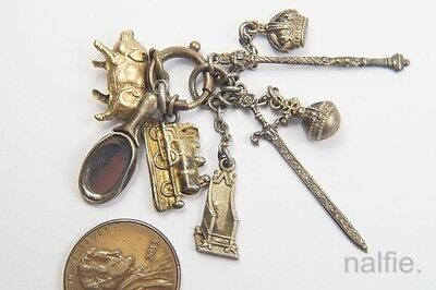 ANTIQUE ENGLISH SILVER KING EDWARD VII CORONATION CHARMS w/ VINTAGE 9K PIG CHARM