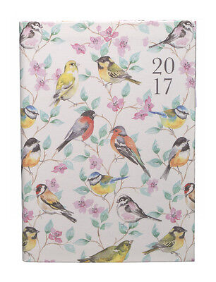 WHSmith 2017 A5 Watercolour Birds & Flowers Linen Diary Day to Page