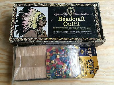 VINTAGE USED BOY SCOUT BEADCRAFT OUTFIT 1960's + NEW CUB STIX CRAFT SET #1868!