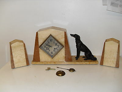Antique French Onyx Art Deco Clock with Garnitures