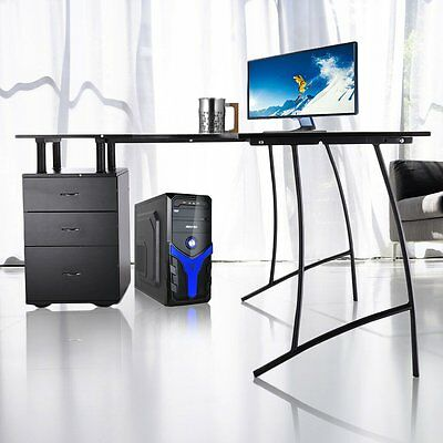 Black Corner Computer Desk Home Office PC Table with 3 Drawers L-Shaped AYA