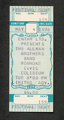 1976 Allman Brothers unused full concert ticket Roanoke Jessica Wipe the Windows