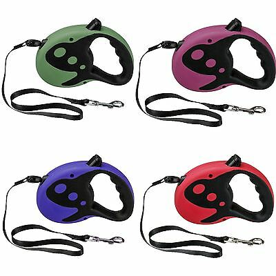 Retractable Dog Lead Pet Puppy 3m Long Moulded Grip Release Button Up To 10KG