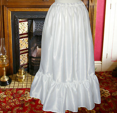Ladies satin petticoat Victorian / Edwardian costume fancy dress with frill