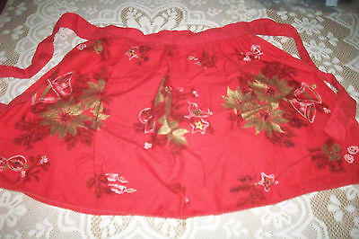 Vintage Christmas Pointsettia & Bells  Waist Apron - Red & Gold - Childs or XS