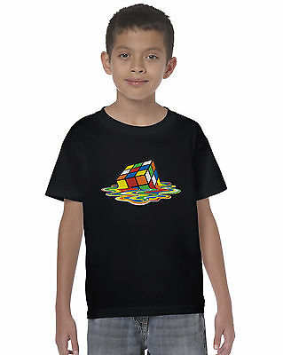 Melting Rubik Cube Inspired Kids Unisex T-Shirt Puzzle Gift Tee Top