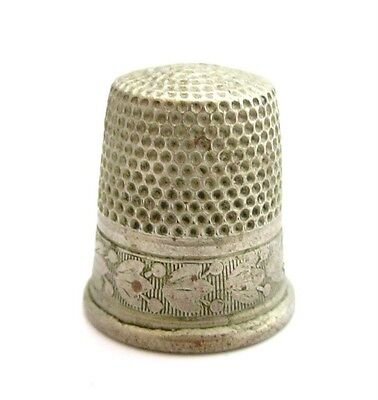 Old Antique Silver Thimble*tulip Flower Design*hallmarked*sewing*size 9*335D