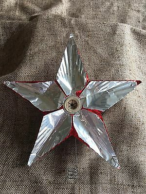 Vintage Large Christmas Tree Topper Aluminum Reflector STAR Silver on Red