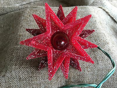 Vintage 1950s Mid Century Red Lucite,Glitter Flecked STAR Christmas Tree Topper