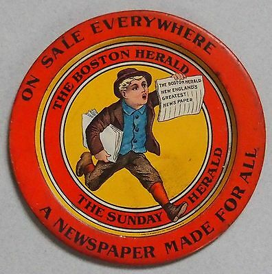 Early Boston Herald Newspaper Tin Advertising Tip Tray Near Mint Condition