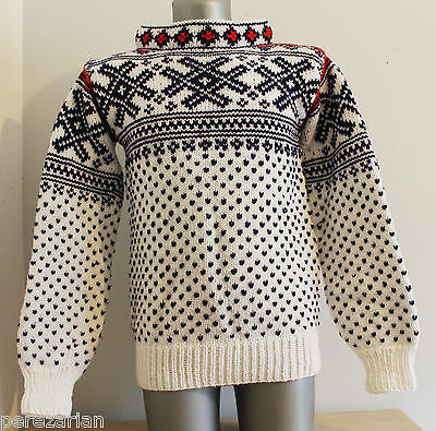 90´S VTG Sweater NORWAY Nordic Fairisle 100% WOOL White Jumper Dale of. Size M/L
