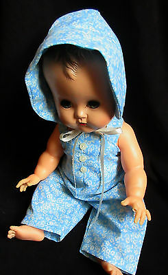 "Overalls/bonnet Set For 14"" Vintage Ideal Betsy Wetsy Baby Doll"