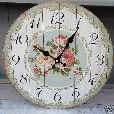 Pretty Shabby Vintage Chic Style Duck Egg Blue and White Wall Clock FLORAL ROSE.