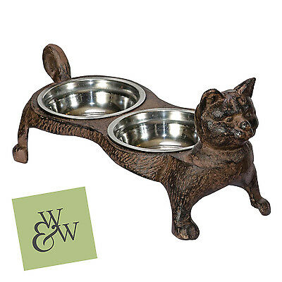 Cast Iron Cat Food & Water Bowls Stainless Steel Feeder Rustic Metal Pet Heavy